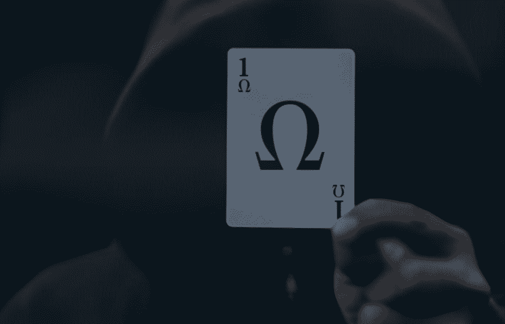 Hacker met playing card in front of face with 1-omega-1. Links Pagina