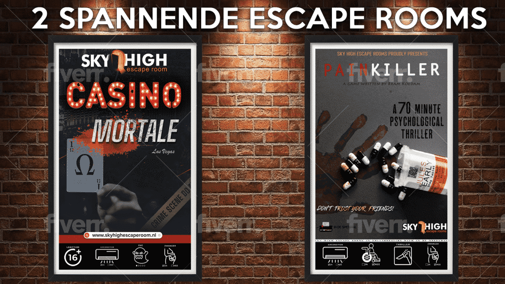 algemene voorwaarden, sky high escape room almere, 2 spannende escape rooms